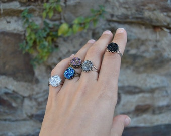 Druzy rings: black druzy ring, purple druzy ring, blue druzy ring, dark silver druzy ring, silver druzy ring - faux titanium druzy jewelry