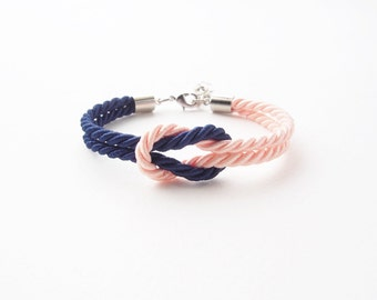 Bridesmaid bracelet - navy blue - blush wedding - wedding favors gift - nautical bracelet - tie the knot bracelet - maid of honor bracelet