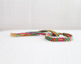 Friendship Bracelet Geometric Tribal Chevron Orange Magenta Green Boho Chic Stocking Stuffer