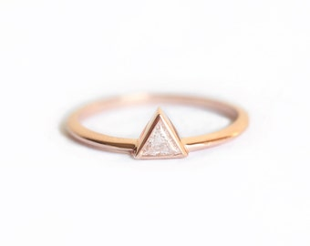 Rose Gold Diamond Engagement Ring, Rose Gold Trillion Diamond Ring, Triangle Diamond Ring, Triangle Engagement Ring, Simple Engagement Ring