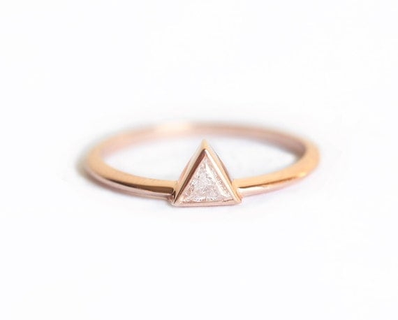 Rose Gold Diamond Engagement Ring Rose Gold Trillion Diamond