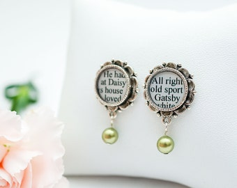 Great Gatsby Earrings - The Great Gatsby by F. Scott Fitzgerald - Literary Earrings - Great Gatsby Jewelry - Green Pearl Earrings