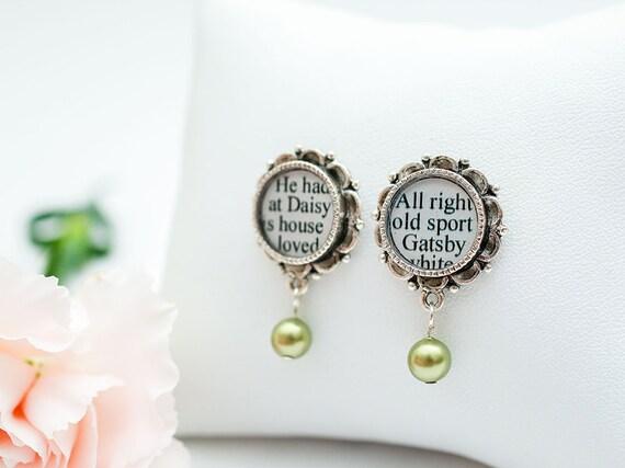 Great Gatsby Earrings - The Great Gatsby by F. Scott Fitzgerald - Literary Earrings - Great Gatsby Jewelry - Green Pearl Earrings