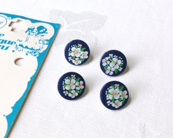 4 Glass Buttons Navy Blue White Flowers Round 12mm