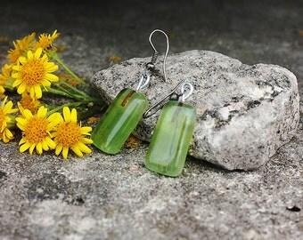 Glass earrings, fused, small, drop earrings, dangle earrings, green, lime green, handmade, everyday