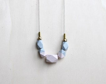 pastel wooden geometric necklace // nude, lilac dipped necklace for girls, women - minimalist everyday jewelry - eco-friendly