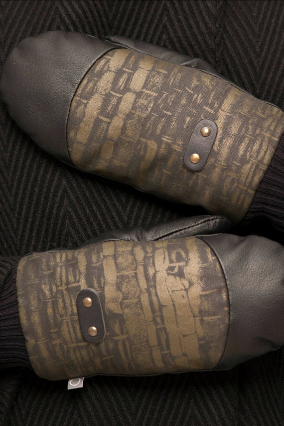 ALASKA - leather and polycotton caneva mittens for womens - black