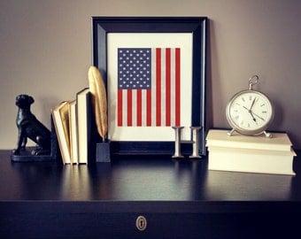 Rustic American flag, rustic country print, Americana, American wall art, flag print, all American art, patriotic nursery, patriotic print
