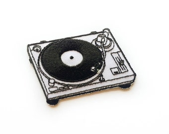 """Turntable Patch - Vinyl Player - Iron-on Patches - Record Player - Tattoo Appliqué - Embroidery - DIY Denim Jacket - Size 2.75"""" x 2"""" (P105)"""