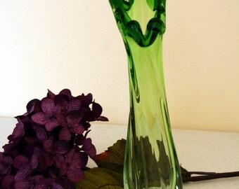 Slung glass vase-retro lime art glass-mad men-vintage elegance-home decor