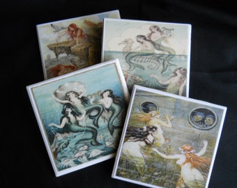 Mermaid Coasters ~ Ceramic Tile Coasters ~ Vintage Mermaids ~ Drink Coasters ~ Table Coasters ~ Home Decor ~ Mystical ~ Pretty Coasters