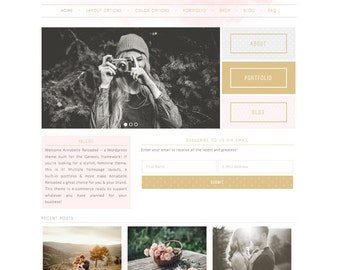 wordpress theme - annabelle reloaded - mobile responsive wordpress template with custom homepage - DIY INSTANT DOWNLOAD
