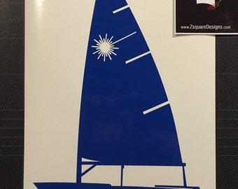 Sailboat Laser Decal Dingy Sunfish Pico Banshee Sail boat sticker FREE SHIPPING