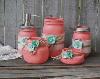 Bathroom Jar Set mason jar bath set | etsy