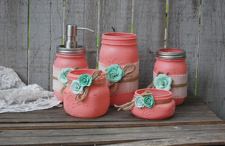 Mason Jar Bathroom Set Coral Mint Green Shabby Chic Soap