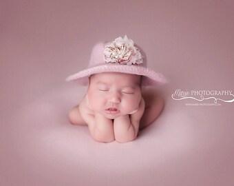 Newborn Pink Garden Party Sunhat, Photography Props, Felted Hat, Newborn Hats, Newborn Photo Props, Newborn Photography, Crochet Baby Hats