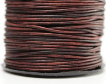 50 Meters of 1.5MM Natural Antique Brown Round Leather Cord (50 yards) (50m) Roll Spool
