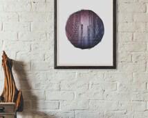 Downloadable City Art Print - City Wall Art - Geometric Art Print - Geometric Design - Circle Art Print - Triangle Art Print - Office Decor