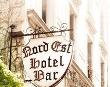 "Paris Art, Street Photography, Paris Bar, French Building, Kitchen Art, White, Green, Fine Art Print, French Art, Vintage Paris- ""Northeast"""