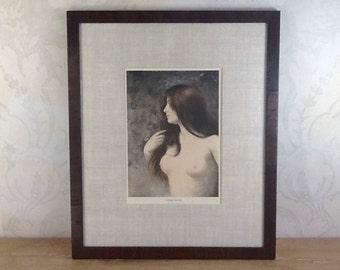 """Museum Framed Vintage Art Print """"Nymphe des  Bois""""- Wood Fairies print - Antique Art Print c.1900 - Vintage Etching"""