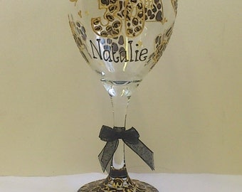 Personalised Leopard print wine glass hand painted by Luci Lu Designs