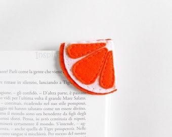 Felt orange bookmark, felt corner bookmark, felt fruit fun bookmark, back to school gift, book lovers gift