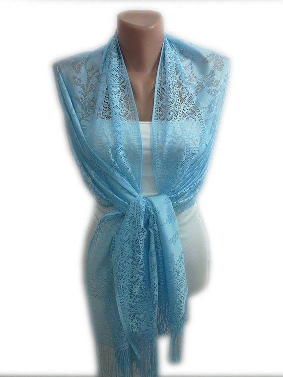 valentines gift for light blue scarf shawl tulle by