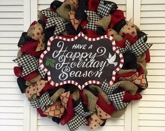 Large Burlap Happy Holidays Christmas Wreath, Xmas Wreath, Holiday Wreath, Large Door Decor, Door Wreth