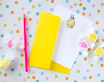 Pineapple Notecards - Fruit Stationary Cards - French Stationery Set - Merci Note Cards - Pineapple Thank You Cards - Fruit Note Cards