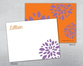 Personalized flower stationery. Personalized notecard. Thank you card.