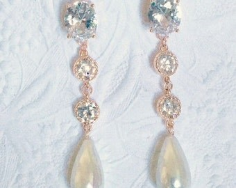 Bridal Rose Gold Cubic Zirconia and Pearl Earrings, High Quality Rose Gold Bezel CZ Connectors, Lustrous Teardrop South Sea Shell Pearls