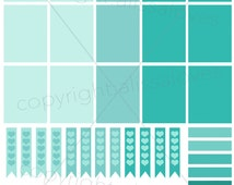 Mint Love - Erin Condren Printable Sticker Sheet -  Life Planner Stickers Download PDF File to Print