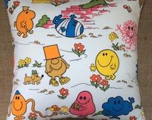 Vintage 1970s Mr Men Fabric Cushion With Interior 40cm x 40cm