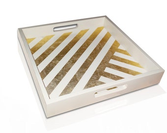 White Tray with Gold Leaf Stripes, Decorative Tray, White Home Decor, Serving Tray