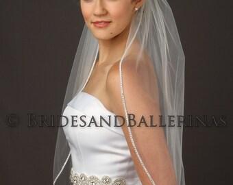 Rhinestone Veil, Wedding Veil Rhinestone, Beaded Veil, Waist Length Veil, Ivory Bridal Veil, White Veil,  Available in any length!