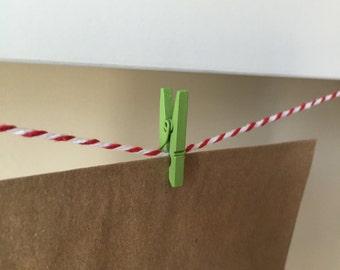 Mini Clothes Pegs - 24 Green Mini Clothes Pins - Green Mini Clips