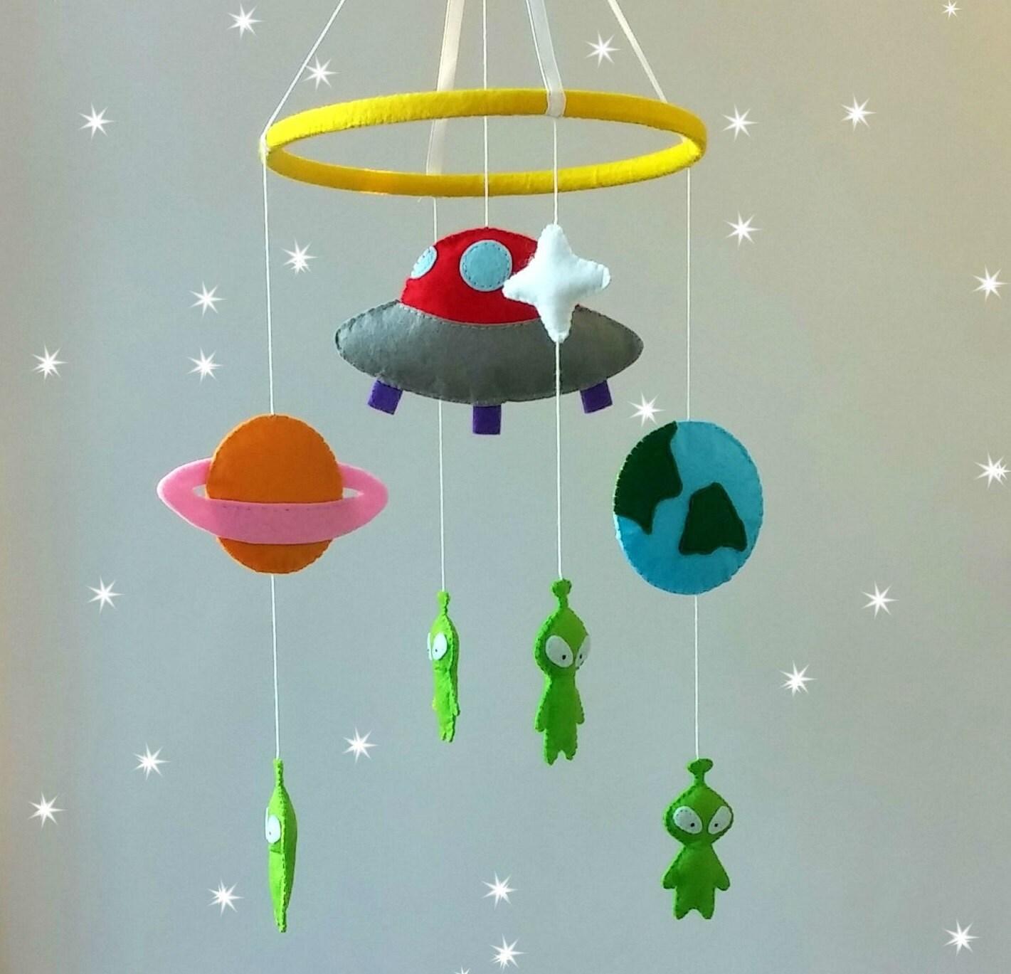 hanging crib mobile-alien crib mobile-space mobile-felt by ...