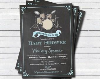 Drum Set Baby Shower Invitation. Boy, Girl, Gender Neutral. Music Theme,