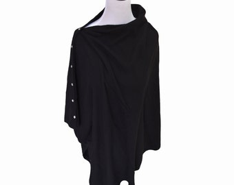 100% Cashmere Poncho in Midnight Black with Crystal Buttons