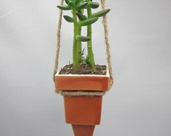 Hanging Ceramic Succulent Planter - Plant Holder - Ceramic Mini Pot - READY TO SHIP - Hanging Plant Urban Garden - Geometric - Gift Packaged