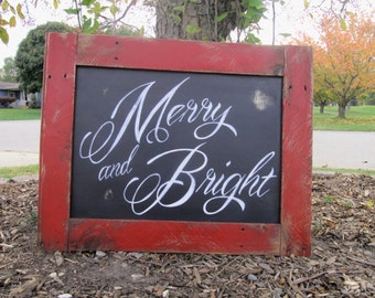 Merry and Bright sign, Christmas sign, holiday sign, Christmas pallet sign, rustic Christmas sign, Farmhouse decor, Christmas porch sign