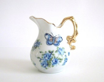 China Ewer Blue Forget-Me-Not Flowers Butterflies Bright Gold Trim ~ Dainty Pitcher w Blue Flowers Butterflies ~ Cottage Chic Charm