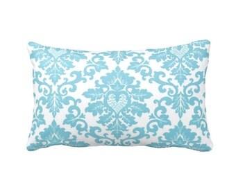 Blue Pillow Cover Blue Throw Pillow Cover Blue Lumbar Pillow Blue Damask Pillow Cover Damask Pillowcase 12x20 Pillows 12x18 Pillows