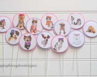 dog and cat cake toppers, puppy and kitty cake toppers, pet birthday party, birthday pawty, kitty and puppy birthday party