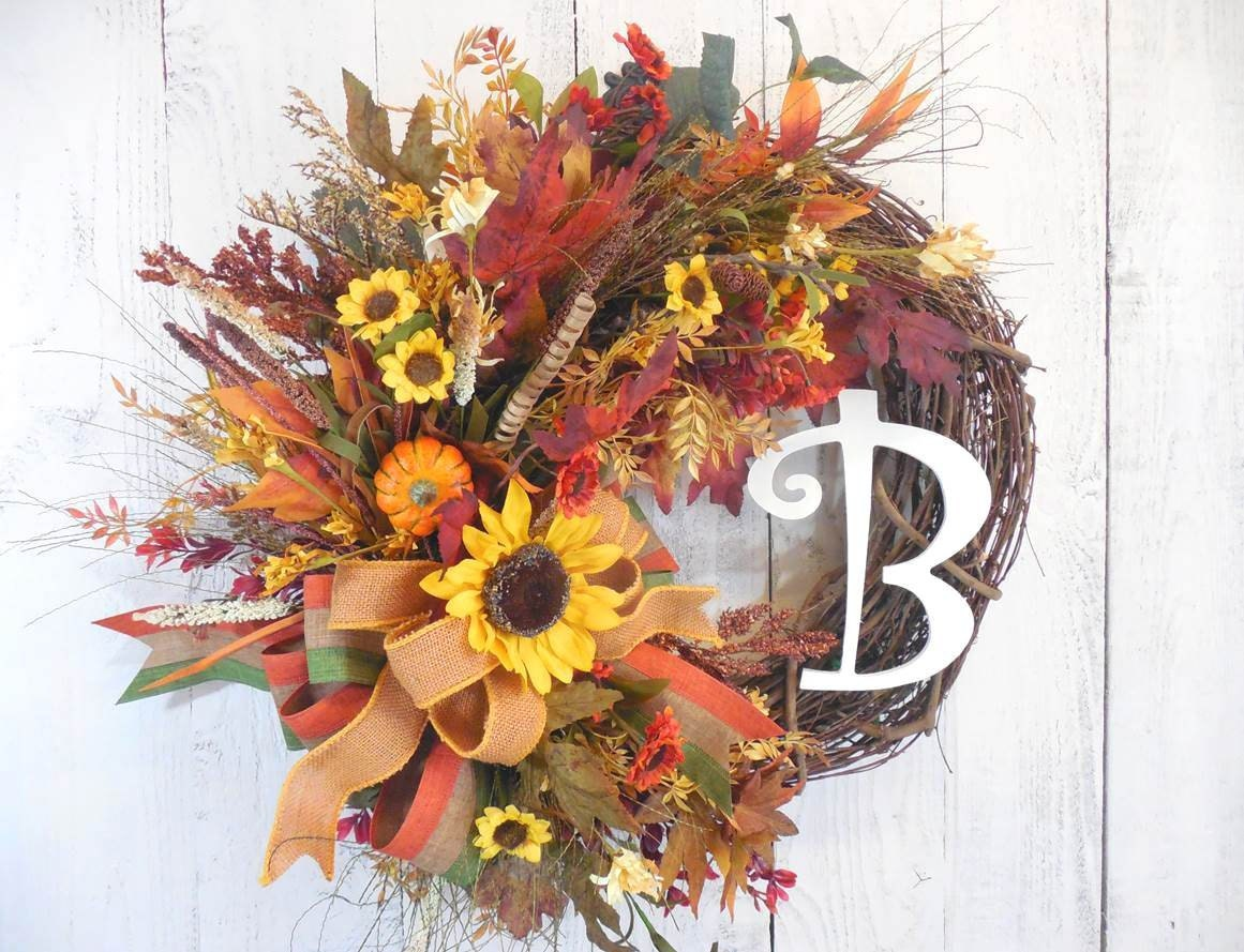 Fall initial wreath fall wreaths sunflowers fall door Fall autumn door wreaths