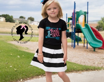 1st Grade, 2nd Grade, 3rd Grade - Any Grade! - Girls Arrow Black Applique Shirt & Matching Hair Bow Set for Back to School