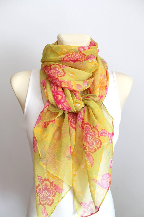 Floral Silk Scarf Chiffon Fabric Scarf Floral Print Scarf Boho Chic Scarf Gift for Mom Gift for Wife Gift for Her Summer Outdoors Party