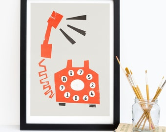 Telephone Art, Retro Style, Fifties Red Rotary Dial Phone, Print for the Home, Old School Art, Pop Art, Mid Century Modern Print, 1950 Phone