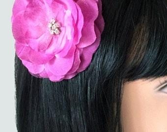 "Flower Hair Clip Pink Silk and Organza Flower Clip Rhinestone Flower Alligator Clip Girl's Hair Accessories Fuschia Hair Pin 3"" Silk Flower"