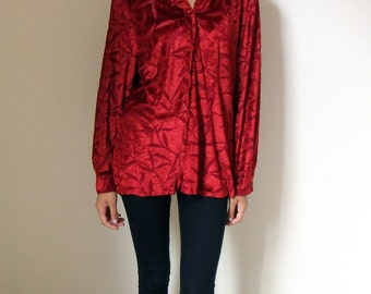 MAROON VELVET SHIRT -floral, flowered, transparent, clueless, grunge, indie, hipster, 90s, sexy, long sleeved, casual, boho, soft, blouse-
